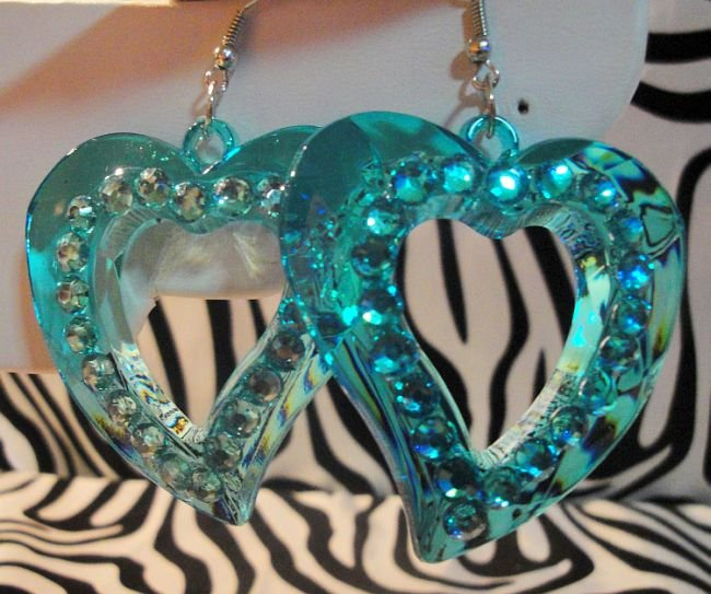 Blue Heart Cuttout With Rhinestones Earrings