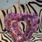 Purple Heart Cutout With Rhinestone Earrings