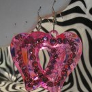 Pink Heart Cutout With Rhinestone Earrings