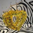 Yellow Heart Cutout With Rhinestone Earrings