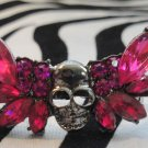 Pink Skull With Wings 2 Finger Ring