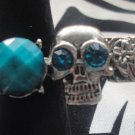 Turquoise Skull With Gem Adjustable Ring