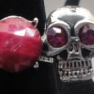 Pink Skull With Gem Adjustable Ring