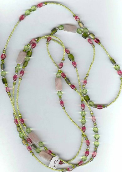 "inv - Designer jewelry - 72"" endless necklace rose quartz & green Necklace"