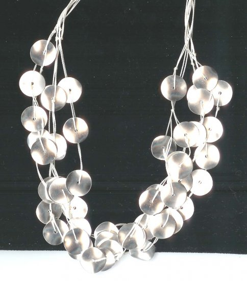 Fashion jewelry - Silver discs 5 rows adjustable necklace - NEW - free sh/h