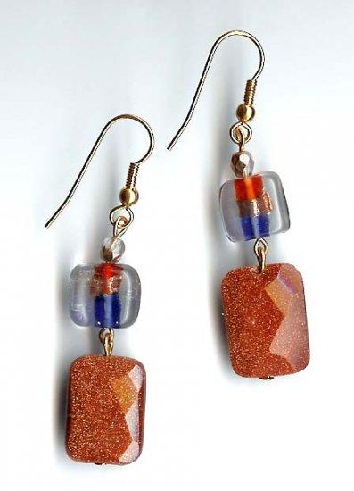 Fashion jewelry - lampwork glass drop earrings by Lucine Designs - free sh/h