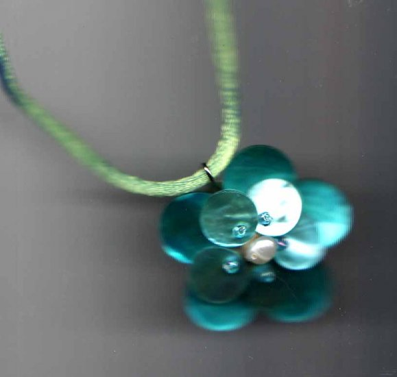 Turquoise flower pendant on silk cord - Fashion jewelry - NEW - free sh/h