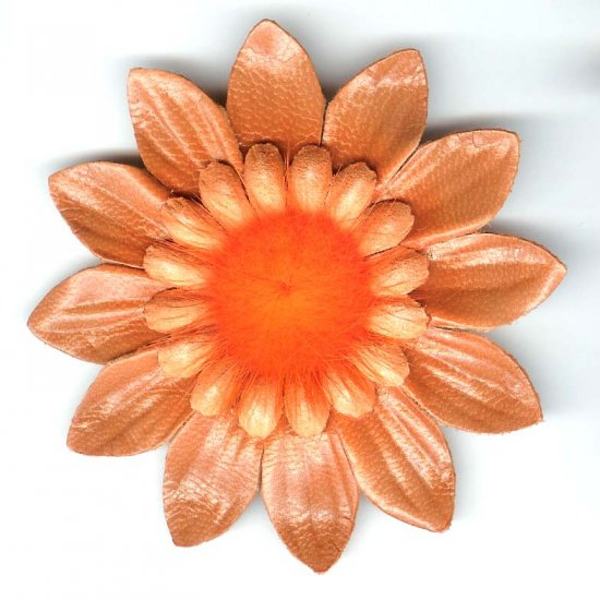 Orange leather large fashion flower brooch pin