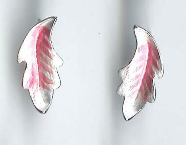 Silver and pink leaf pierced earrings fashion jewelry {666E}