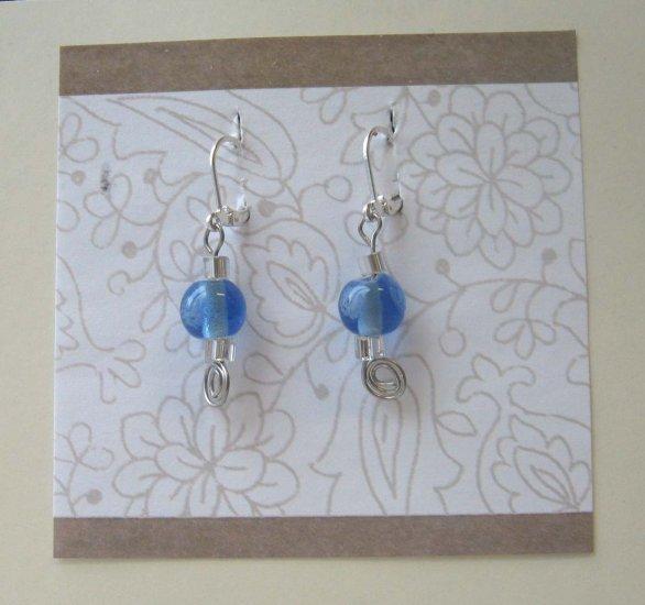 Cool blue lampwork drop earrings by Lucine - wireworks
