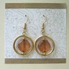 Gold circle with brown center fashion drop earrings