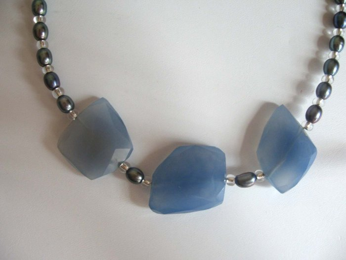 Faceted blue chalcedony with cultured pearls toggle clasp by lucine