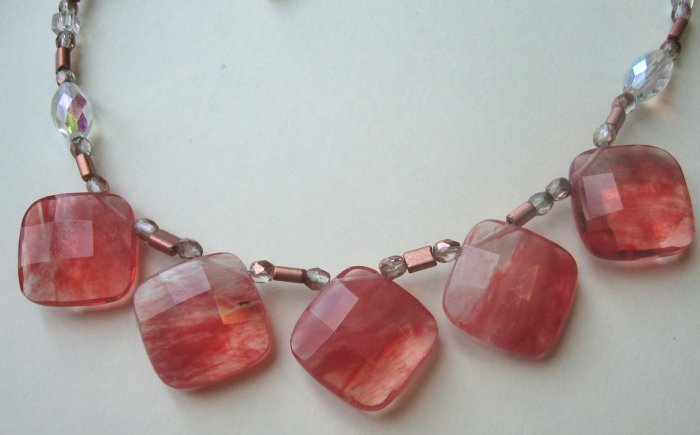 Faceted large cherry quartz with bronze glass Necklace by Lucine - free sh/h