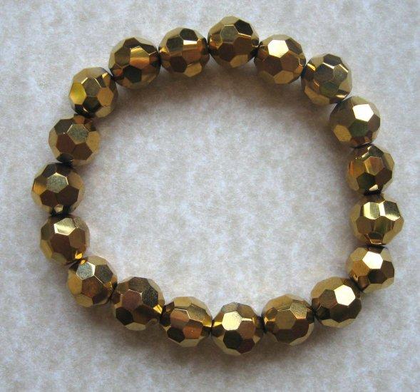 Fashion bracelet: slip on faceted glass - brown - bronze - free sh/h