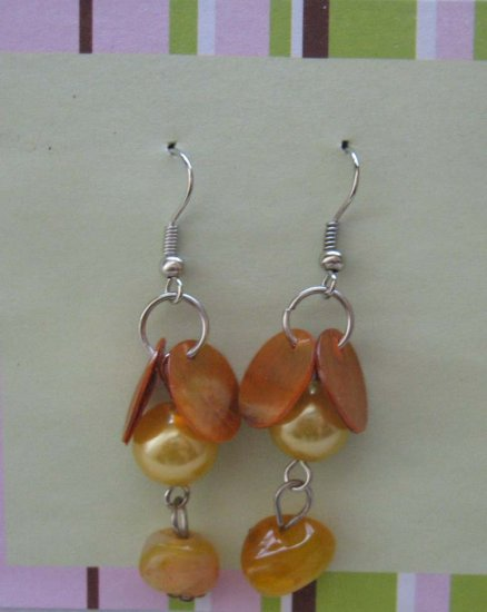 Carnelian and shells with pastel orange pearls drop earrings -  free s/h