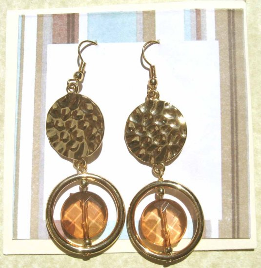 Gold loop and hammered disc brown drop fashion earrings