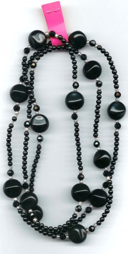 "Black 42"" long necklace by Lucine"