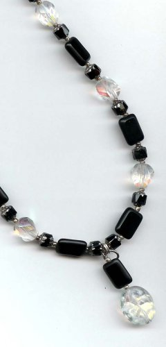 Black chicklets with AB clear Czech glass with pendant by Lucine - free sh/h