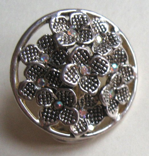 Silver with cystals - clip earrings