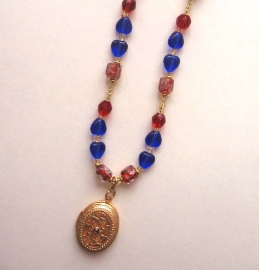 Red, Blue and Orange adjustable necklace with detachable locket - FREE sh/h