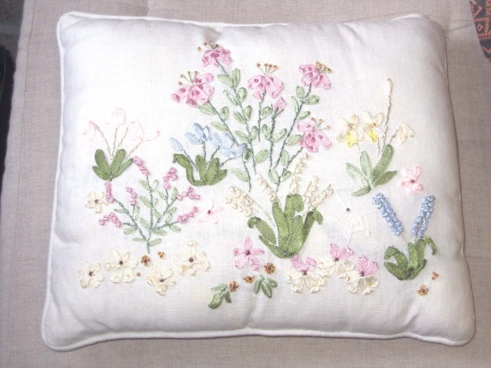 A unique pillow - ribbon work - to be treasured - NEW