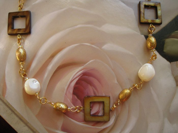 Mother of Pearl designer jewelry: brown and tan - adjustable - FREE sh/h