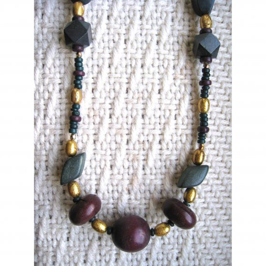 """(with Janet)Wood necklace designed by Lucine - 20"""" FREE sh/h"""