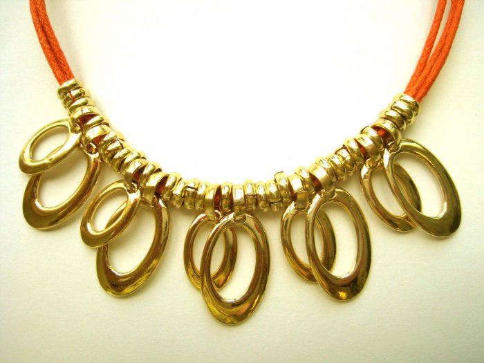 Oh la la necklace - brand new orange cord with oval loops - wholesale - FREE sh/h