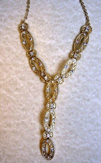 Elegant goldtone Y fashion necklace with crystals