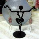 Handmade wirework pink drop earrings - 335E