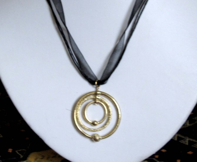 Gold circles pendant from organza cord - fashion necklace
