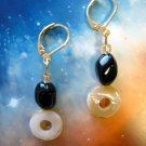Black agate and oval mother of pearl drop earrings -