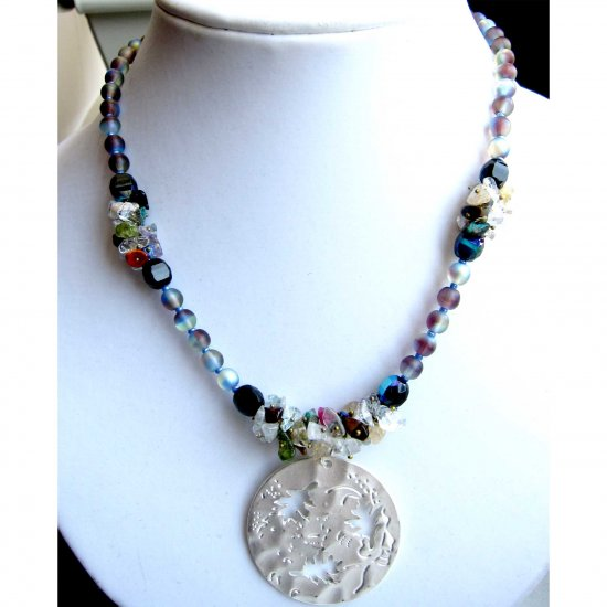 inv - One of a kind semiprecious clusters with silvertone leaf cutouts pendant - NEW - free shipping