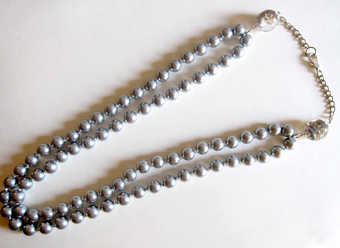 Double row grey pearl necklace hand knotted - NEW
