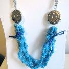 Blue howlite statement necklace - trendy fashion necklace