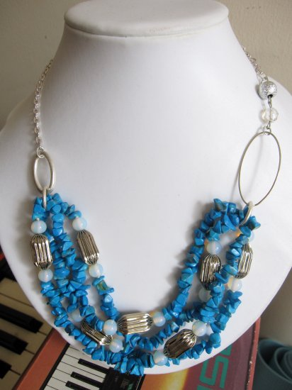 inv  - Statement necklace: blue howlite with opalite and silvertone bead accents NEW