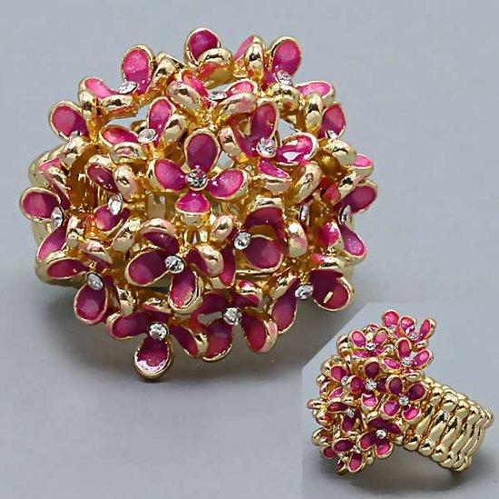 Hot fashion trend: gold fuschia stretch flowers ring
