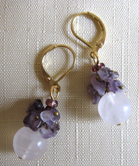 Semiprecious rose quartz with amethyst clusters fashion earrings