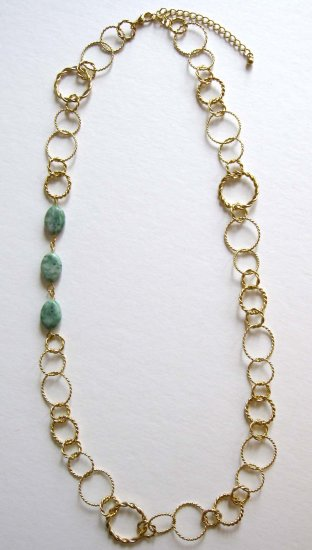 Chinese jade linked to circles trendy fashion necklace