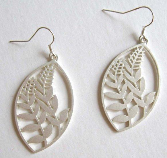 Silver earrings leaf fashion jewelry