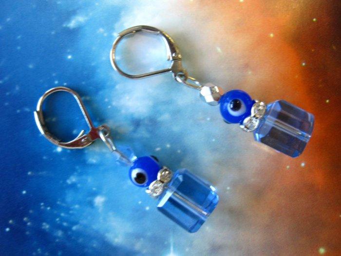Good luck blue crystal earrings - GOOD LUCK