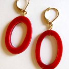 Fashion earrings: red hot mother of pearl earrings