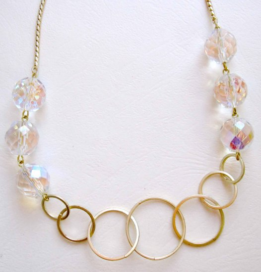 Gold necklace Lucky 7 circles and faceted glass OOAK