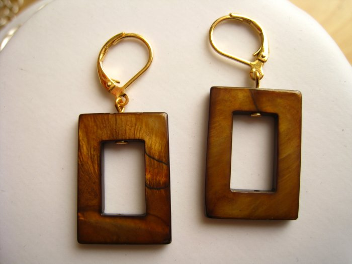 Fashion earrings: brown mother of pearl with lever back earwire