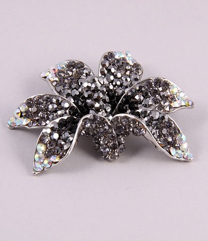 Hematite colour orchid with crystals fashion pin
