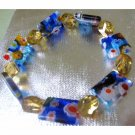 Blue millefiore slip on one of a kind bracelet
