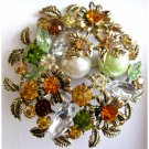 Brown and green flower pin - new