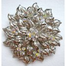 Statement flower pin - silvertone with crystals