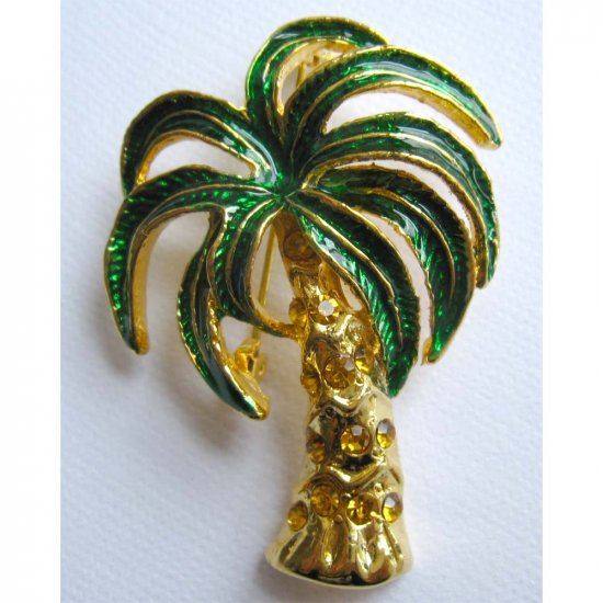 Green palm tree pin - goldtone - fashion jewelry