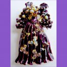 Fashion pin - purple gown with crystals brand new